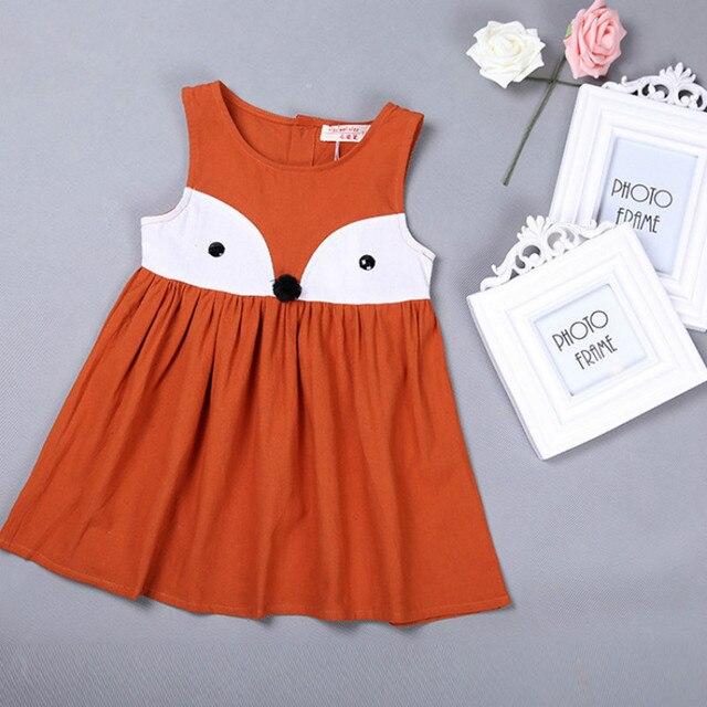 b93de558415b10 2-7 jaar meisjes kleding nieuwe 2016 zomer katoen cartoon vos orange grijs  kinderkleding vest