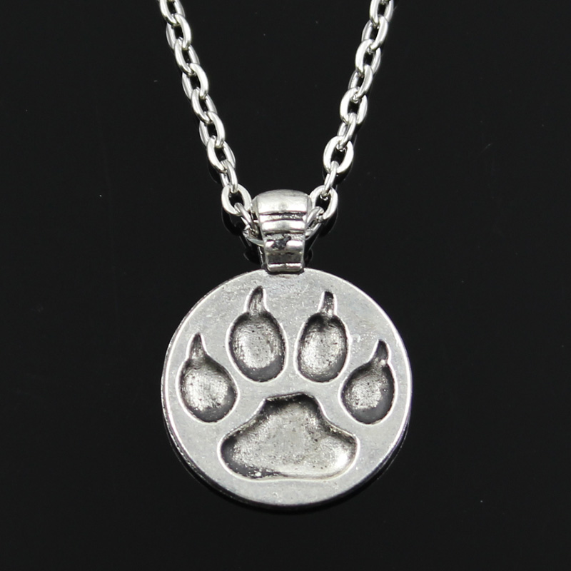 new fashion bear paw Pendants round cross chain short long Mens Womens silver necklace Jewelry Gift