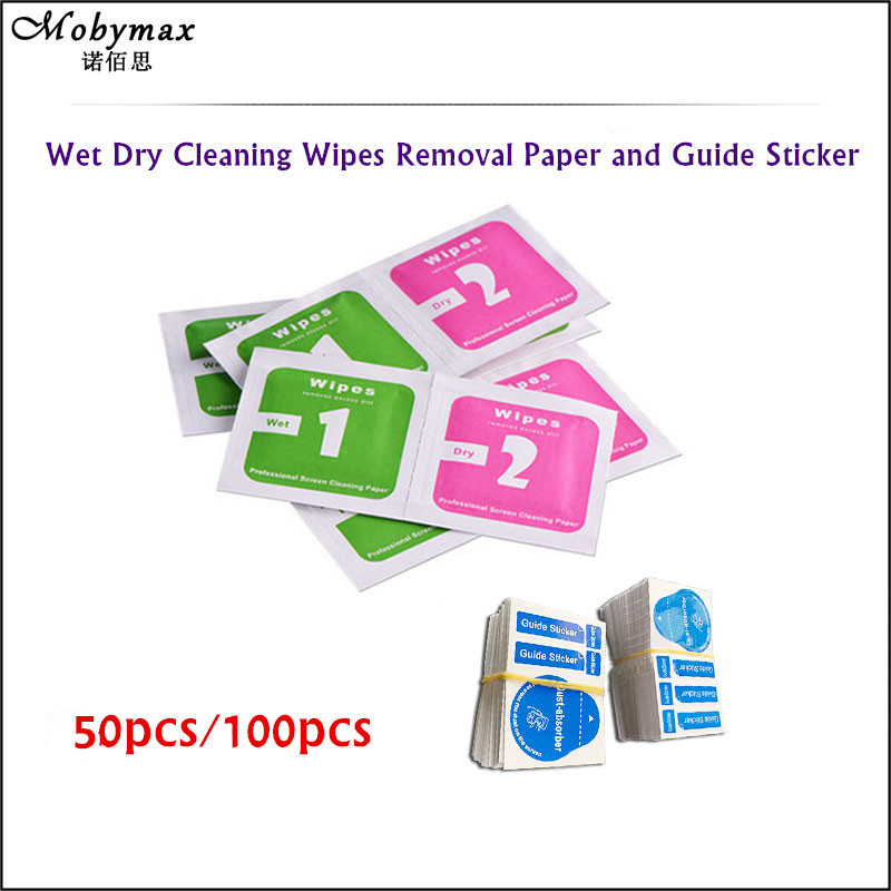 100PCS for iPhone 8 7 6 6s Wet Dry Cleaning Wipes Removal Paper Dust Absorber Sticker for Camera Lens Optical LCD Screen Cleaner
