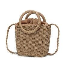 Straw Woven Bag Handmade Rattan Woven Vintage Retro Straw Rope Knitted Women Cro