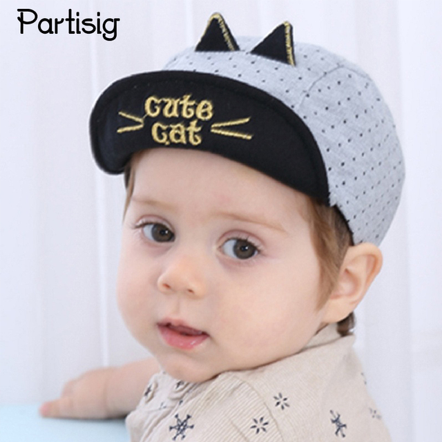 Partisig Brand Baby Hat Cat Shaped Baby Boys Baseball Cap Embroidery Kids  Summer Hat Children Sun cafdda9ebb8