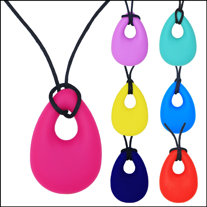 wholesale Teardrop Pendant Baby Teething Necklace Silicone Teether Autism Sensory Chewing 5pcs