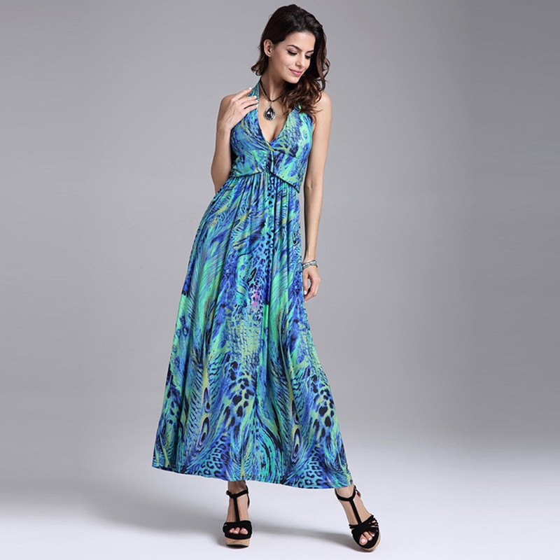 Women Halter Off Shoulder Backless Tunic Dress Elegant Bohemian Long Dress Lady Fashion Peacock Feather Print Dresses LYQ005
