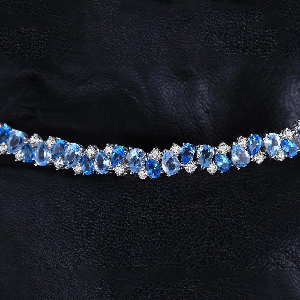 Énorme 23ct naturel topaze bleu londres 925 Bracelet en argent Sterling Tennis pierres précieuses bracelets pour femme argent 925 fabrication de bijoux-in Bracelets et joncs from Bijoux et Accessoires    2