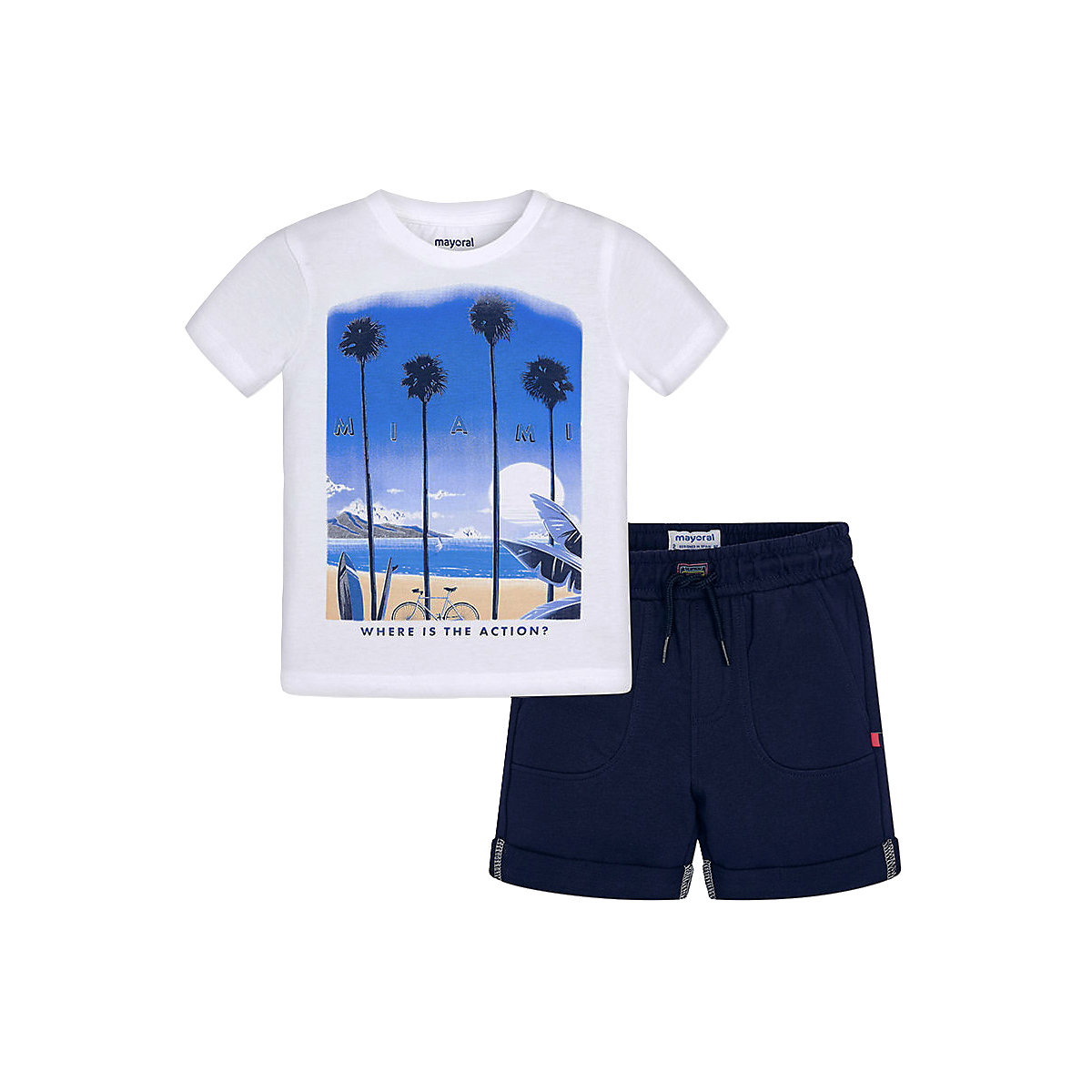 Baby's Sets MAYORAL 10575097 set of clothes for kids T-shirt legs shirt shorts girls and boys new brand girls summer clothes set white cat printed t shirt with striped pencil skirt sets for baby kids summer clothing