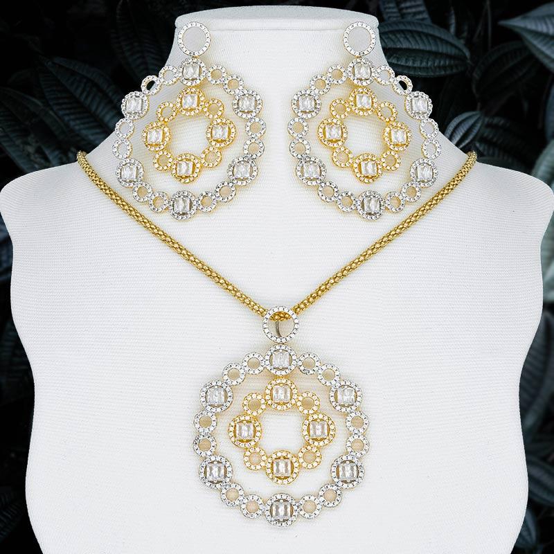 Luxe géométrie cercle 3 tons cuivre Dubai filles et femmes haute qualité cadeau pendentif collier et boucle d'oreille ensemble