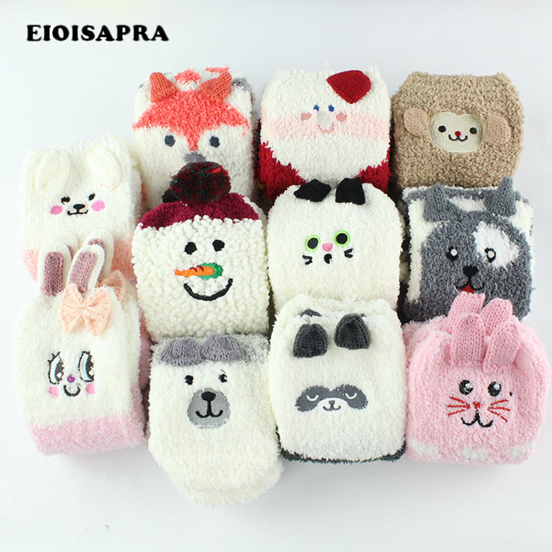 [EIOISAPRA]Cute Cartoon Animal Funny   Socks   Women Thicken Coral Cashmere Christmas Gift Sokken Girl 3D Bear Ladies Warm   Socks