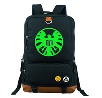 American Capital Shield Agent Backpack School Bag Large Size Laptop Bag Xmas Gift Can Glow in the dark Couple Bag Mochila Boys