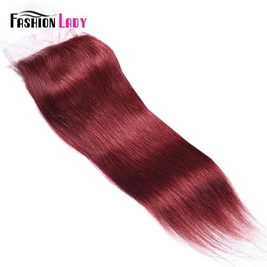 Fashion Lady Pre Colored Peruvian Straight Hair Burgundy Closure 4 4 inch 33 Human Hair Lace