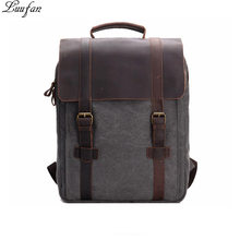 f9811b36ea 2018 New Vintage Crazy Horse Leather Canvas Men women Backpack Teenagers  School Back Pack Large Women Laptop day pack Travel Bag