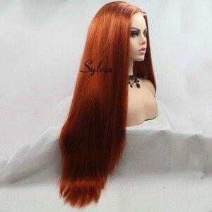 Image 3 - Сильвия коричневый красный парик Длинные Яки прямые волосы U часть кружева парик синтетический парик шнурка 180% Плотность термостойкие волокна волос парики