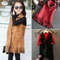 Franjas 2015 colete para a primavera meninas outono Coletes Coletes moda colete jaqueta da menina das crianças do bebê meninas colete estilo Coreano