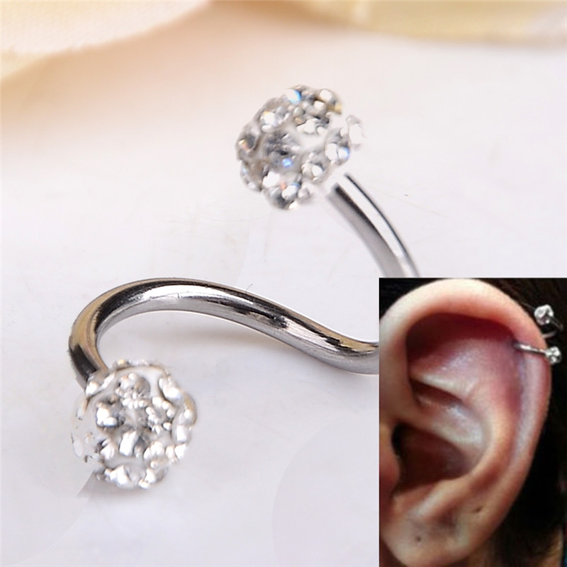 18G Gauge Ear Labret Ring Surgical Stainless Steel Piercing Body JewelryCrystal Double Balls Twisted Helix Cartilage Earring