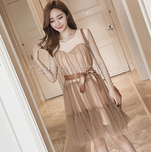 Spring and summer new style Fashion large mesh fluffy pleated dress Loose splicing trend