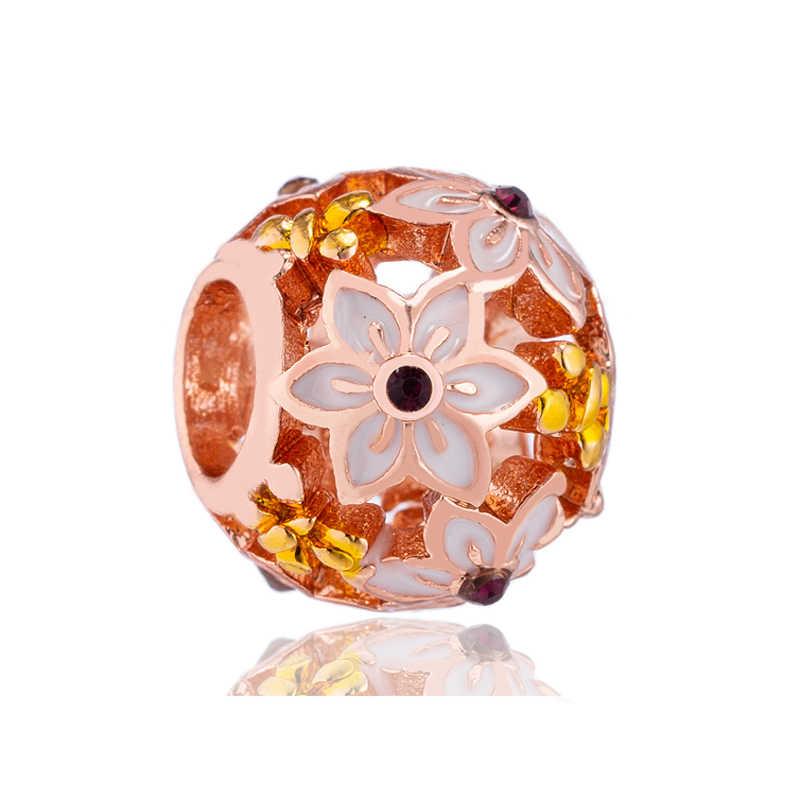 Europejski stop księżniczka kwiaty serca krzyż Charms koraliki Fit oryginalny Pandora bransoletki dla kobiet lato DIY biżuteria Berloques