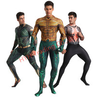 Anime Movie Justice League Aquaman Cosplay Costume Arthur Curry Orin Halloween Party Costumes Jumpsuit for Kids Men Adult