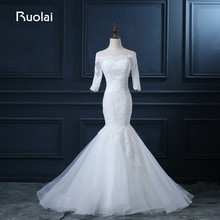 Ruolai Real Photo 2019 Boat Neck Mermaid Wedding Dress for