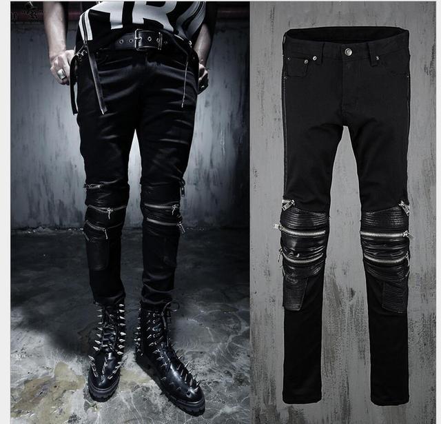 2017 novo do punk calças maré homens cantor stage feitiço personalidade cadeia pilar jeans slim pés calças hairstylist boate trajes