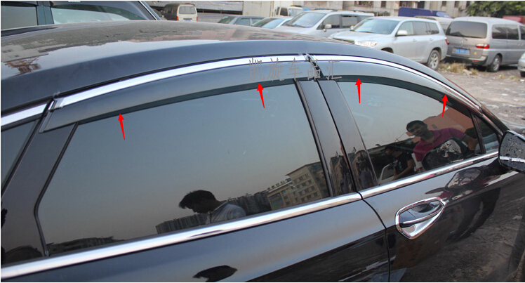 chrome stripes door window visors vent rain wind deflector guard for ford fusion 2014 2015