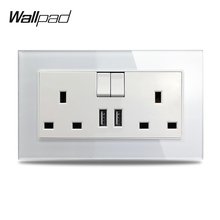 S7 White Black Double 13A UK BS Wall Power Socket with 2.1A USB Charging Ports, Tempered Glass Panel
