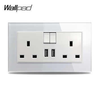S7 White Black Double 13A UK BS Wall Power Socket with 2.1A Double USB Charging Ports, Tempered Glass Panel - DISCOUNT ITEM  40% OFF All Category