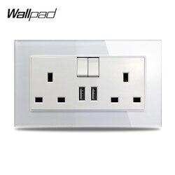 S7 branco preto duplo 13a uk bs tomada de energia de parede com 2.1a portas de carregamento usb duplo, painel de vidro temperado