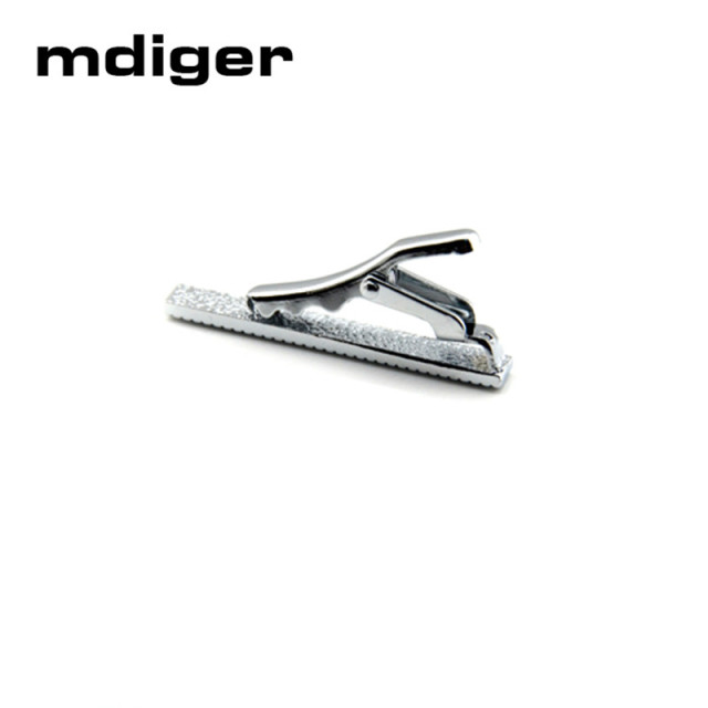 Mdiger Short Silver Metal Necktie Tie Bar Mens Chrome Clamp Stainless Steel Plain Skinny Clip Pins