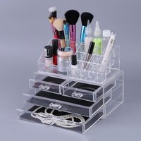 4 Drawer Storage Jewelry Box Clear Acrylic Cosmetic Makeup Organizer Tool Holder Lipstick Dresser Stand Case