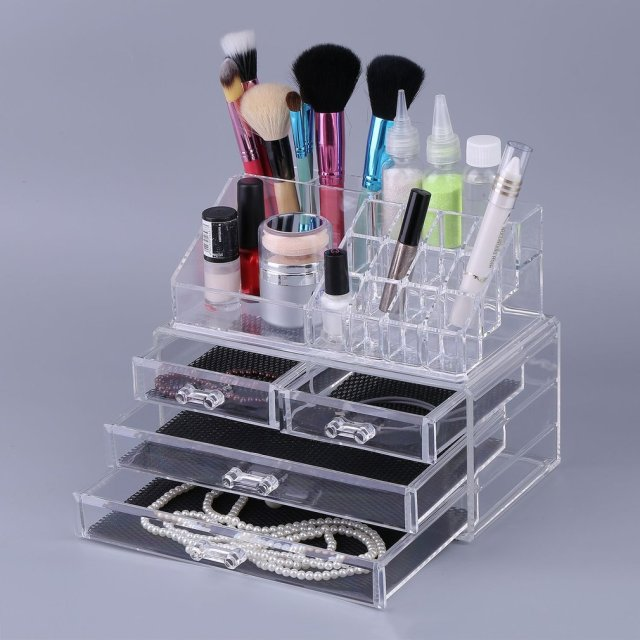 4 Drawer Storage Jewelry Box Clear Acrylic Cosmetic Makeup Organizer