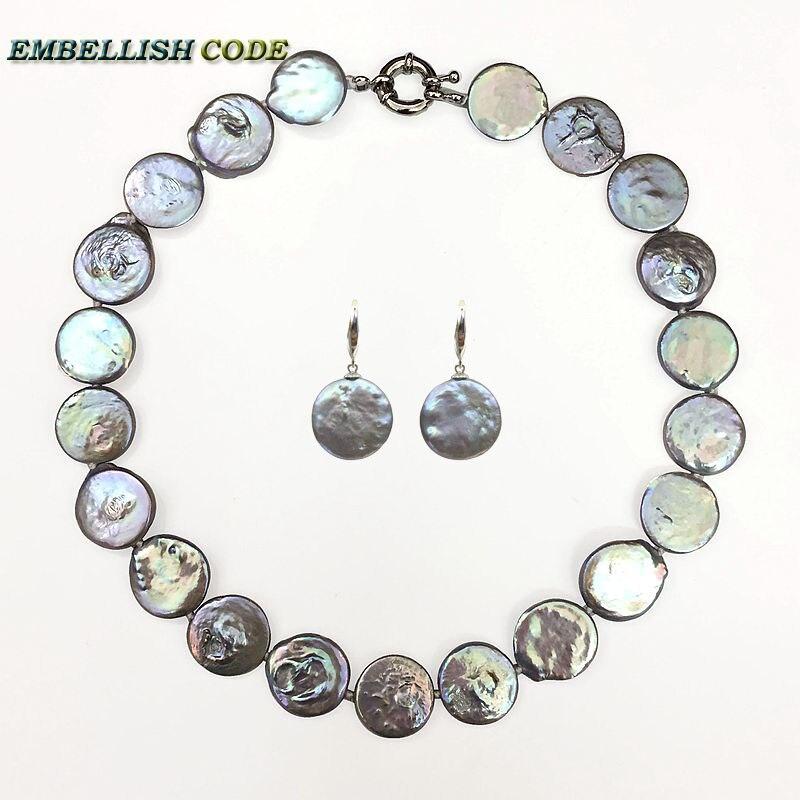 Nouveau baroque perle tour de cou déclaration collier crochet dangle boucle d'oreille ensemble gris coloré plat rond forme réelle perles d'eau douce