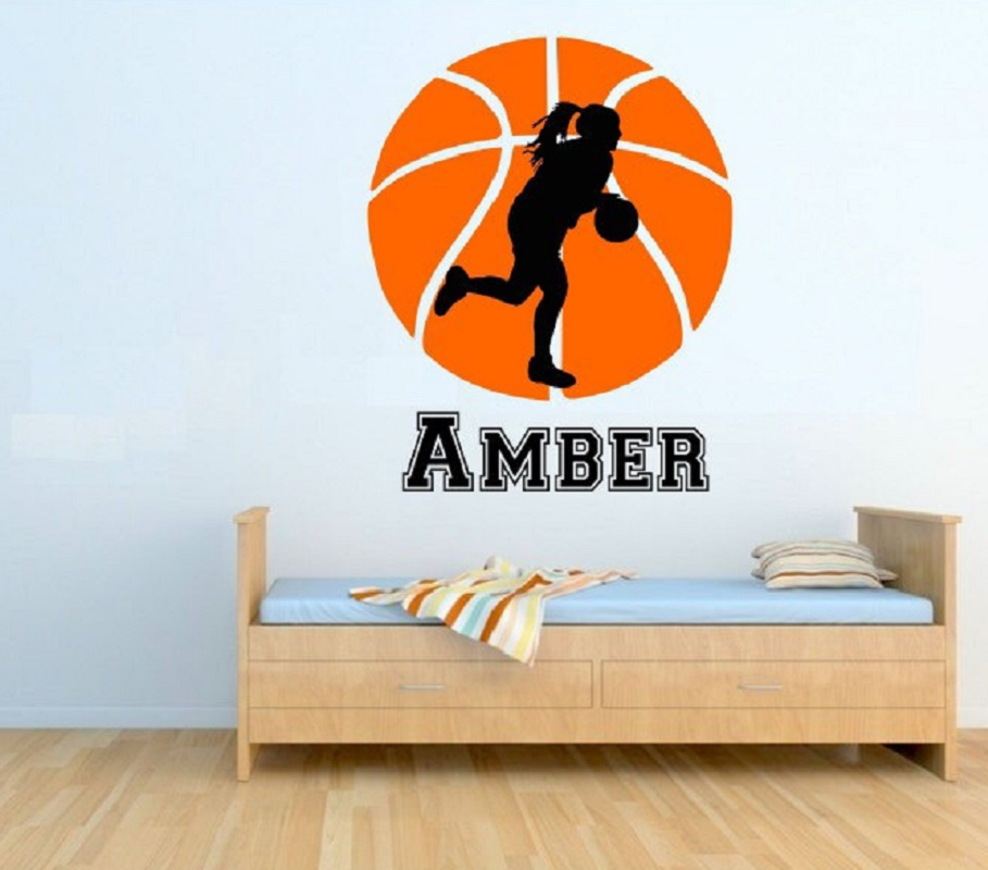Wall Stickers Yoyoyu Female Basketball Wall Decal With Personalized Name Female Basketball Player J007 Bright And Translucent In Appearance