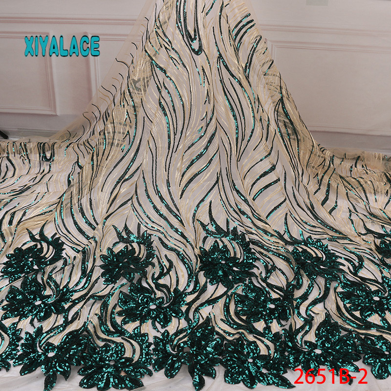 African Lace Fabric Luxury High Quality French Organza Lace Fabric 2019 New Arrival Sequins Lace Fabrics For Wedding YA2651B-2