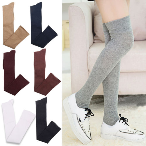 Hot Women Cotton Extra Long Boot Over Knee Thigh High School Girl Stocking