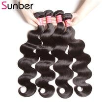 SUNBER HAIR Body Wave Brazilian Hair Weave Bundles Natural Color Remy Žmogaus plaukai Weaving 4 Bundle pasiūlymai 8-30 colių Nemokamas pristatymas