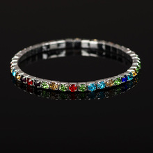 KYSZDL 2018 NEW Fashion wild colorful crystal bracelet ladies mixed elastic stretch rubber band Jewelry gift