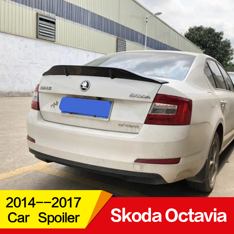 Use for Skoda Octavia spoiler 2015 2016 2017 year glossy carbon fiber/FRP rear wing R style spoiler Accessories|Spoilers & Wings| |  - title=
