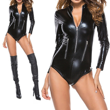 2019 New Long Sleeve Sexy Bodysuit Women Zipper Black Pu Leather Bodycon  Skinny Romper Cool Autumn a478caf6a