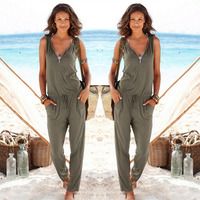Sexy Sleeveless Jumpsuit Romper 2016 Summer Women Jumpsuit Lady Fashion Long Trousers Beach Jumpsuit Coveralls Sexy