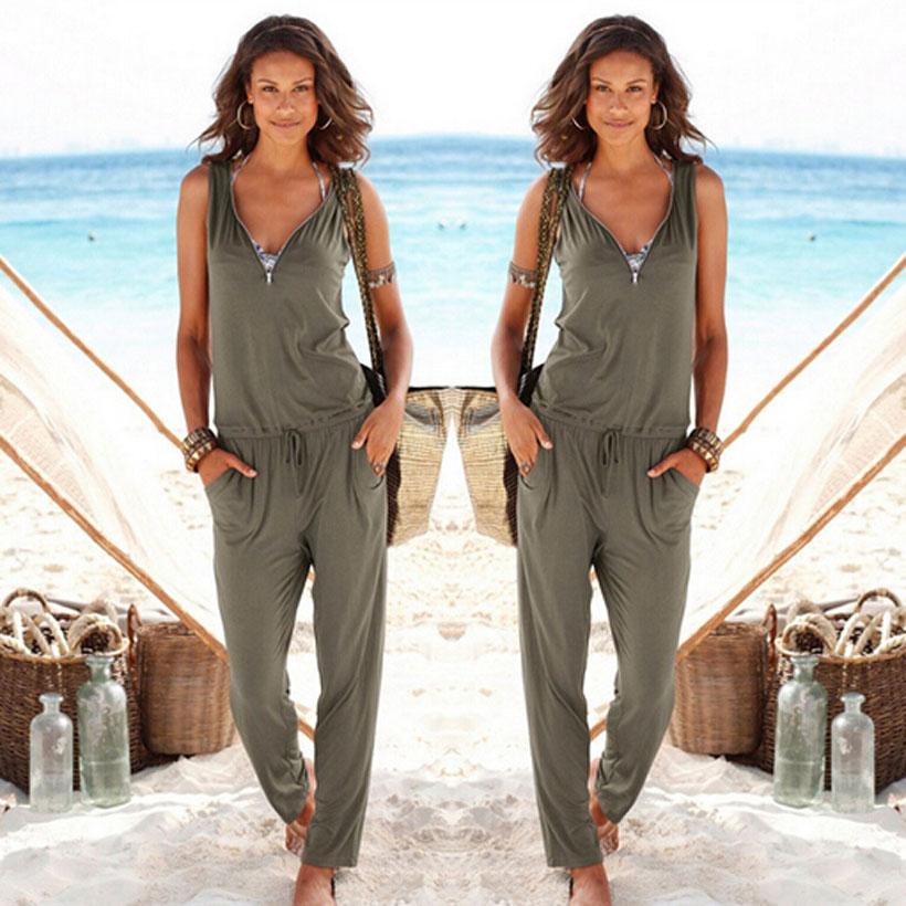 Sexy Sleeveless   jumpsuit   women long romper 2018 summer women lady Fashion trousers beach   jumpsuit   coveralls sexy female frock