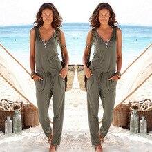 Сексуальная Рукавов комбинезон женщины длинные комбинезон 2017 лето женщины леди Мода брюки пляж комбинезон комбинезон сексуальный женский платье