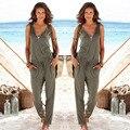 Sexy macacão Sem Mangas romper 2017 verão mulheres jumpsuit lady Moda calças compridas de praia macacão macacões sexy vestido feminino