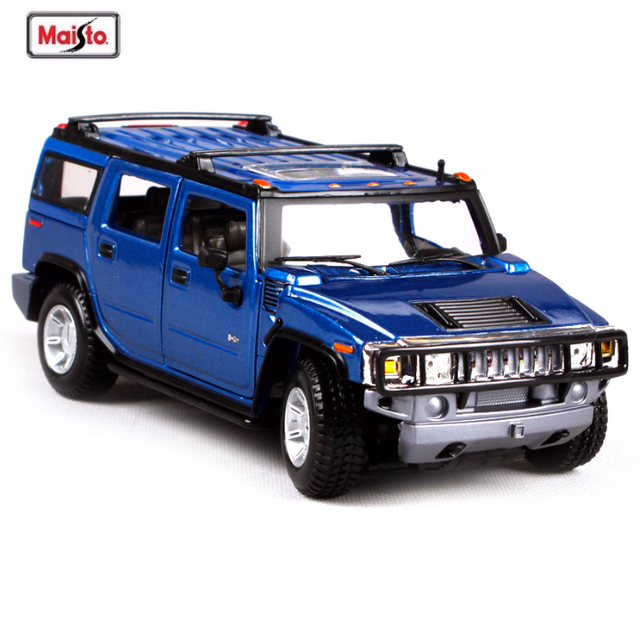 Maisto 1 24 Hummer H2 Alloy Car Model Cast Metal Blue Yellow For Kids Gift Toys Collection Free Shipping