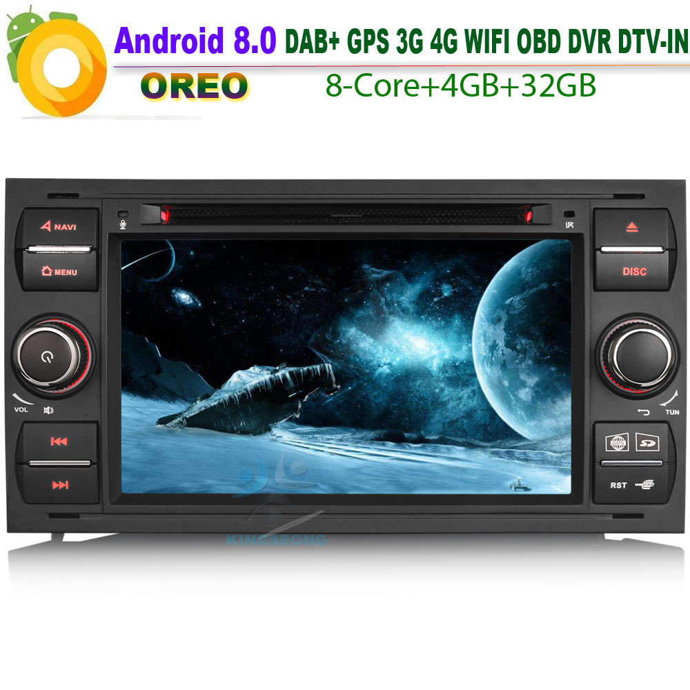 Car CD player DAB+ Android 8.0 Autoradio Sat Navi WiFi 4G Bluetooth Radio GPS RDS BT SD DVR OBD for FORD Mondeo Fiesta Octa Core