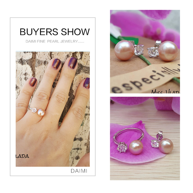 DAIMI Natural Purple Pink White Black Pearl Earrings Ring Sets, Natural Pearl Sets, Party Jewelry Sets For Woman