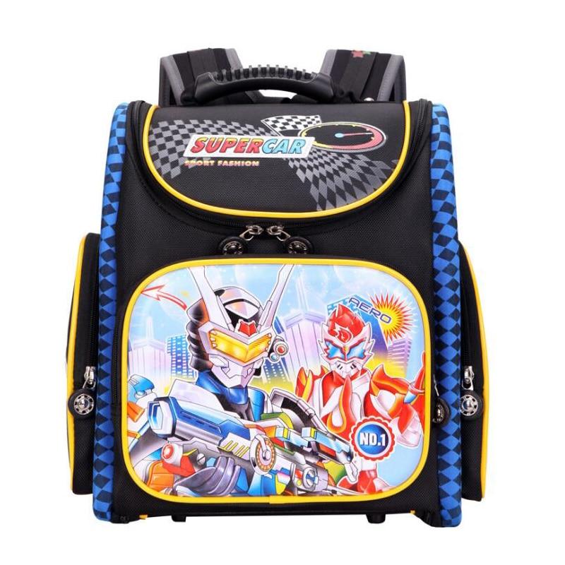 New Fashion Children School Bags for Boys Cartoon Pattern Foldable Orthopedic Backpack School Knapsack Mochila Escolar