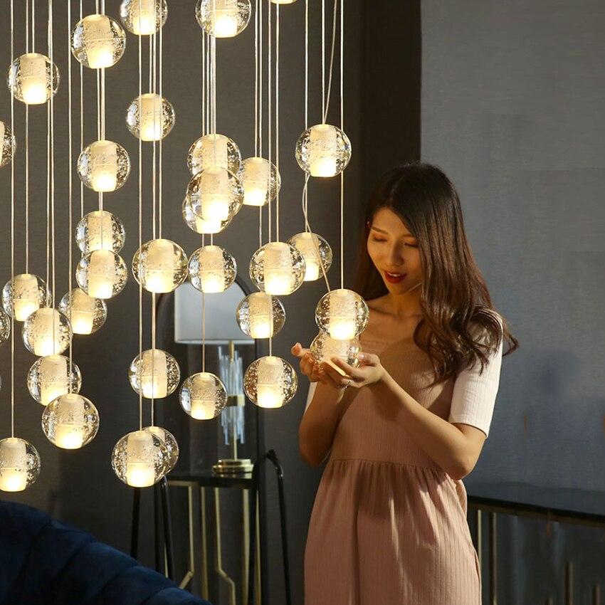Nordic Crystal Ball LED G4 Pendant Lights Living Room Bedroom Lighting Lustres LED Pendent Lamp Hanging Lamps Kitchen Fixtures in Pendant Lights from Lights Lighting