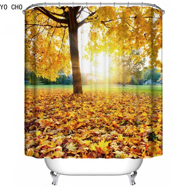 3D Forest Shower Curtain Beautiful Bathroom Curtains Tree Bath Polyester Tropical With 12pcs