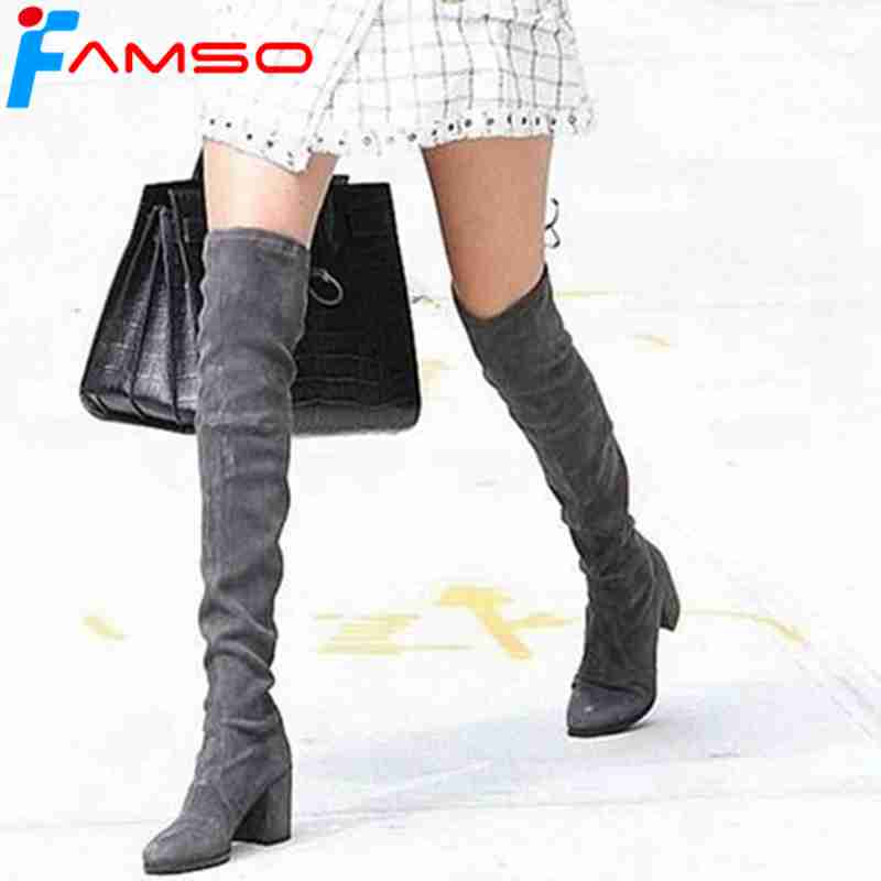 FAMSO 2018 New Heels Women Boots Designer Spring Autumn Designer Over the knee Boots Winter Sexy Female Suede Motorcycle Boots