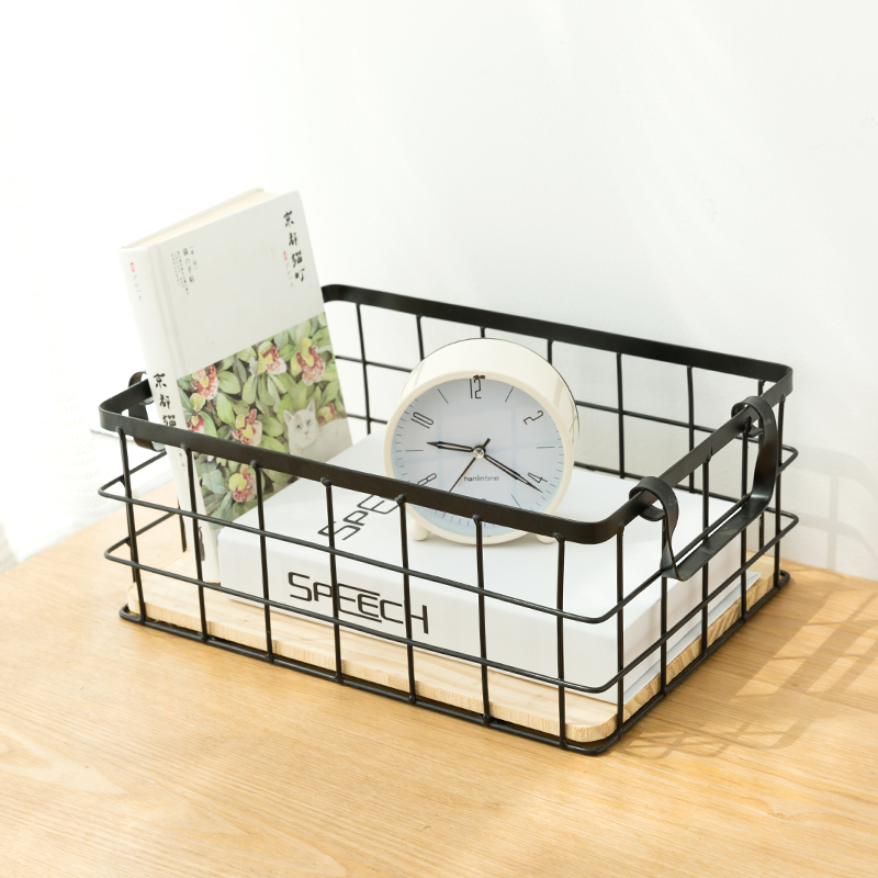 Nordic Iron Cosmetic Storage Basket Desktop Makeup Cloth Office Articles Organizer Box Bathroom Sundries Home Container in Storage Boxes Bins from Home Garden