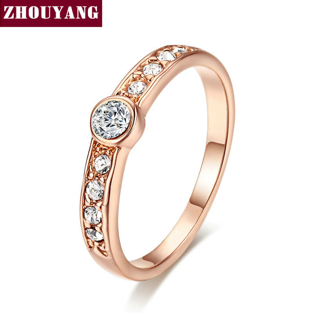 Top Quality ZYR172 Concise Crystal Ring Rose Gold Color Austrian Crystals Full S